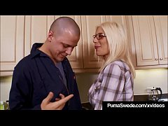 Busty Nympho Puma Swede gets a big load of cum all over her glasses after getting banged by her repairman's hard stiff tool! Lots of hardcore hot fucking!