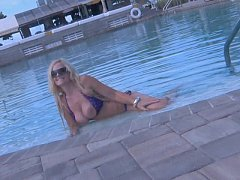 Brazzer Blonde shows her beautiful TITS in a PUBLIC POOL