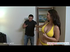 lovable brunette holly west takes a large shaft