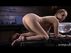 blonde slave cadence luxe started with bag on a head and whipping then in doggy in device bondage ass hard whipped and spanked