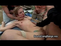 Tied up hairy pussy blonde orgy fucked