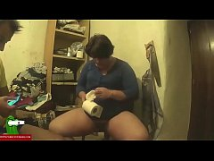 Fat girl fucking on the chair in the living room IV 067