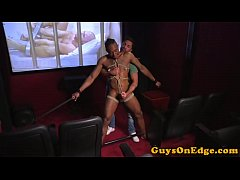 Ball gagged black edging sub jerked by dom