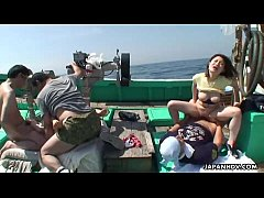 Asian sluts getting fucked on a fishing boat