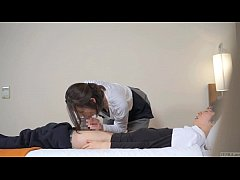 HD Subtitled Japanese hotel massage leads to blowjob in HD