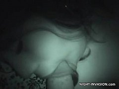 Fake sleep blowjob video caught on night vision