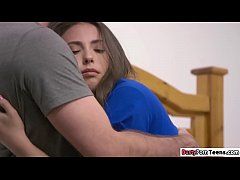 College babe comforted and fucked by her stepcousin