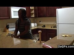 Ebony with a big ass gets fucked during the dishes