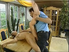 Young blonde brought in a country home and banged