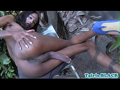 Hung black tgirl wanks her meaty cock solo