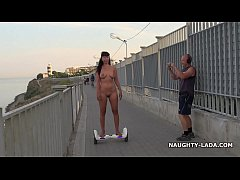 Naked ride gyroscooter in public