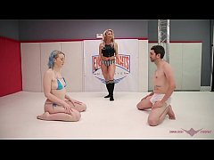 Evolved Fights mixed wrestling naked guy verses girl strapon ass fucking by winner Lux Lives