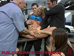 Filthy Whore Gangbanged in a Garage