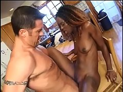 Black cowboy cheerleader gets facial in the kitchen