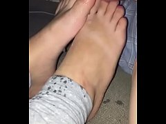 sleep girl at party get cute feet sprayed