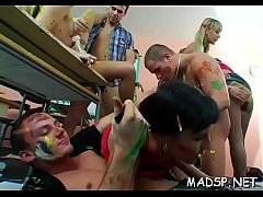 Tons of lascivious girls enjoy fucking on a hardcore sex party