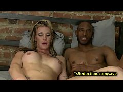 White tranny fucks black throat and ass