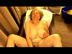 Busty mature masturbates in hotel