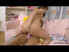 Justine and Melika super sexy lesbians please each other with vibrator