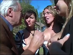 Lesbian orgy in the country for an old pig