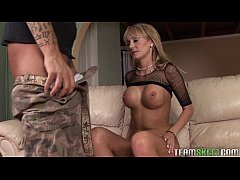 busty blonde milf gives bj before riding cock