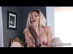 Aaliyah Hadid fucks and sucks a monster black dildo