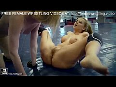 Sex wrestling fight two beautiful lesbians