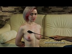 Pretty bdsm sub dominated with clothespins flogger and whip.
