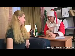 Tricky Old Teacher - Gorgeous young blonde gets to fuck Santa Claus