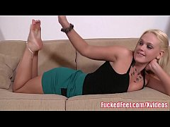 Hot blonde Roxy Raye Uses Her Feet to Make Him Cum!
