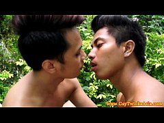 Gay asian twinks barebacking outdoors