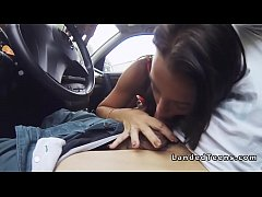 Shaved cunt brunette teen bangs in car