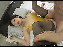 Mistress in leotard and pantyhose moans as she's fucked