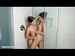 Sapphic shower - lesbian scene with Kerry Cherry and Roxy Dee by SapphiX
