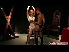Lezdom Skin Diamond strapon punishes sub