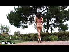 Horny Latin Babe Fucking Herself Outside in the Sun!
