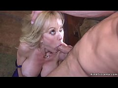 Huge tits blonde Brandi Love with award Milf of the year tied up by her biggest fun and throat banged