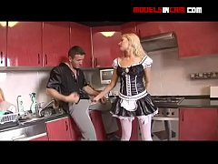 blonde housemaid in sexy lingerie gets anal
