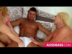 Lesbian blonde girls bounce on a thick cock
