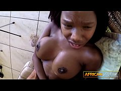 Busty African Worships Lucky Tourist's Cock