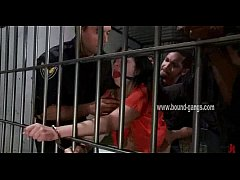 Gagged brunette inmate gets her ass aggressivel...