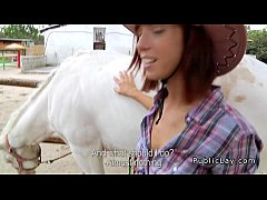 Amateur cowgirl with beautiful booty fucking outdoor