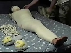 Mummified whore Betty is struggeling and gets feet tickled