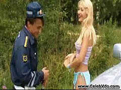 Russian policeman and blonde