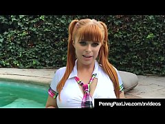 Slutty School Girl Penny Pax Bangs Her Box Poolside!