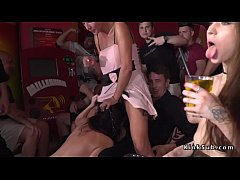 petite brunette teen slave rebecca volpetti gags huge dick to master in public cafe
