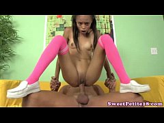 Ebony teen in long socks fucking