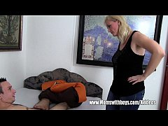 Lazy Son With Hard Boner Fucked By Blonde Stepmom