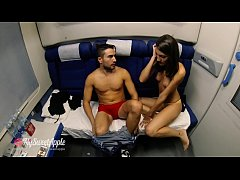 Hot Brunette Fucks a Guy in the Night Train - MySweetApple