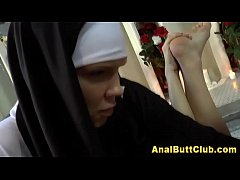 Dildo wielding fetish nun